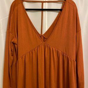Orange BabyDoll Long Sleeve Top